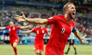 Harry Kane celebrates his injury-time winner for England.