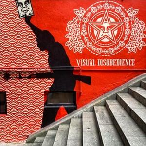 Political street mural, Central, Hong Kong