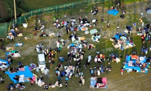 People evacuated to a park in Minamiaso
