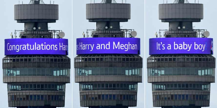 A combination of pictures shows the congratulatory banner message circling the BT Tower.
