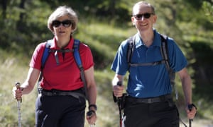 Theresa and Philip May on holiday in the Alps