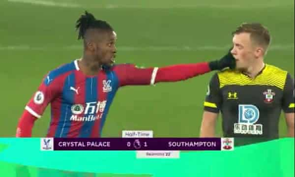 Wilfied Zaha appeared to poke James Ward-Prowse in the eye.