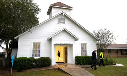 A member of the media walks inside the First Baptist church of Sutherland Springs.