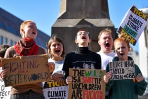Young climate strikers in Birmingham.