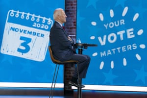 Wilmington, US – Democratic presidential candidate former Joe Biden appears on a Zoom with Oprah Winfrey virtual show at The Queen theatre in Delaware