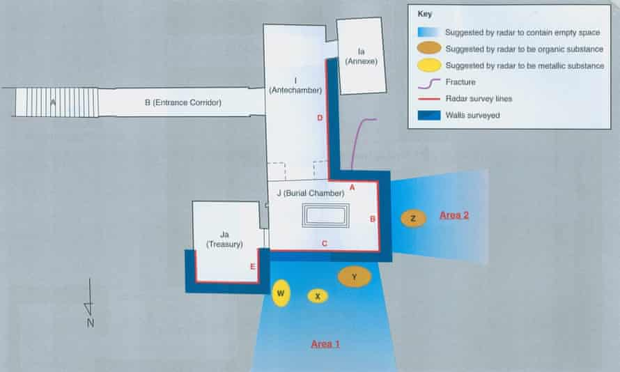 Plan showing the location of the rooms next to Tutankhamun's tomb.