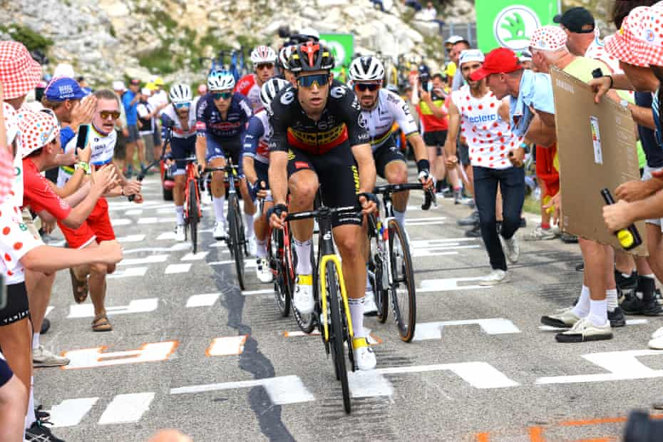 Team Jumbo-Visma's Wout Van Aert leads the breakaway as they climb Mont Ventoux on Stage 11.