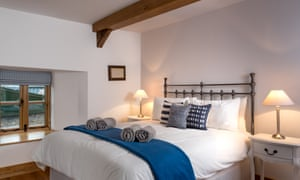 A double bedded room at Weavers Cottage, near Crickhowell, Powys, Wales