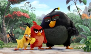 The Angry Birds Movie characters Chuck, Red and Bomb.