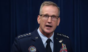 Gen Terrence John O'Shaughnessy, commander of the US Northern Command, briefs reporters on the Trump administration's plan to deploy military forces to the southern border.