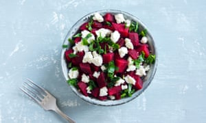 A beet and Feta cheese salad with parsley.