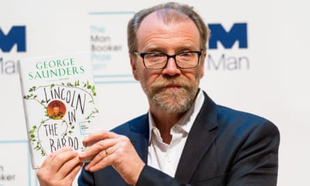 George Saunders with his 2017 Man Booker prizewinning book, Lincoln in the Bardo