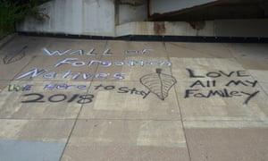 A graffiti at the camp.