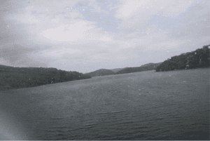 A photo taken by a passenger during a seaplane trip on the Hawkesbury River in Australia.