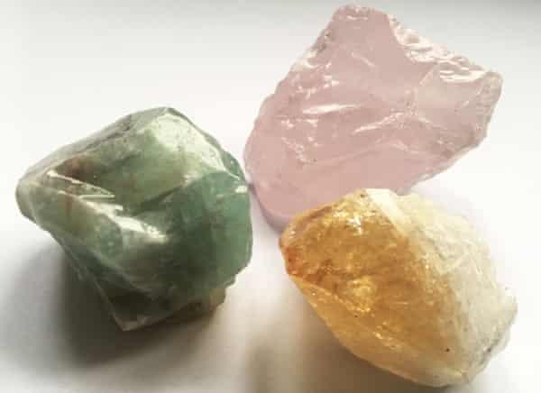 Rose quartz, calcite and citrine.