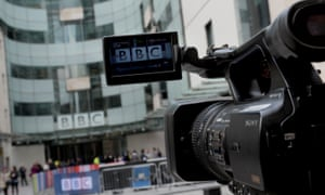 A camera films the BBC headquarters