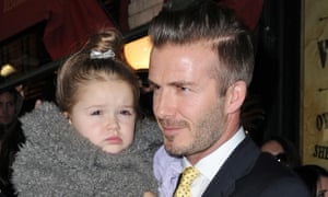 David Beckham and daughter Harper in 2014.
