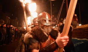 participants in the 2017 Up Helly Aa festival in Lerwick, Shetland.