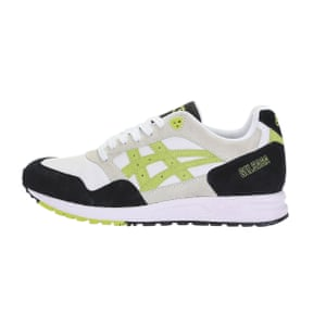 Neon highlight trainers.  £95, by Asics