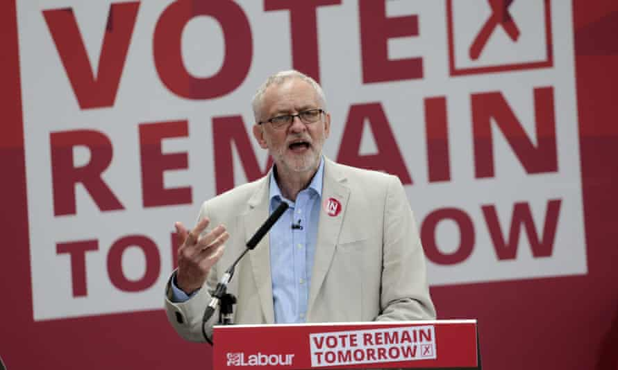 Jeremy Corbyn at a remain event in the run-up to the EU referendum