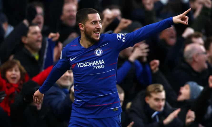 Eden Hazard celebrates scoring.