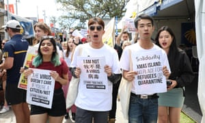 Protesters in Sydney rally last week against the decision by the Morrison government's travel ban on non-residents from China in response to the coronavirus.
