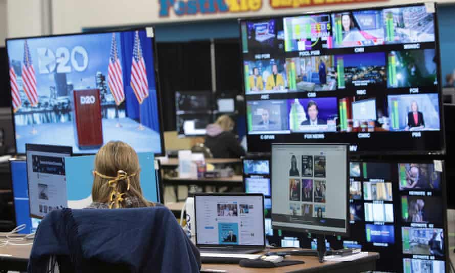 The control room where live feeds are managed for the Democratic national convention in Milwaukee, Wisconsin, on 17 August.