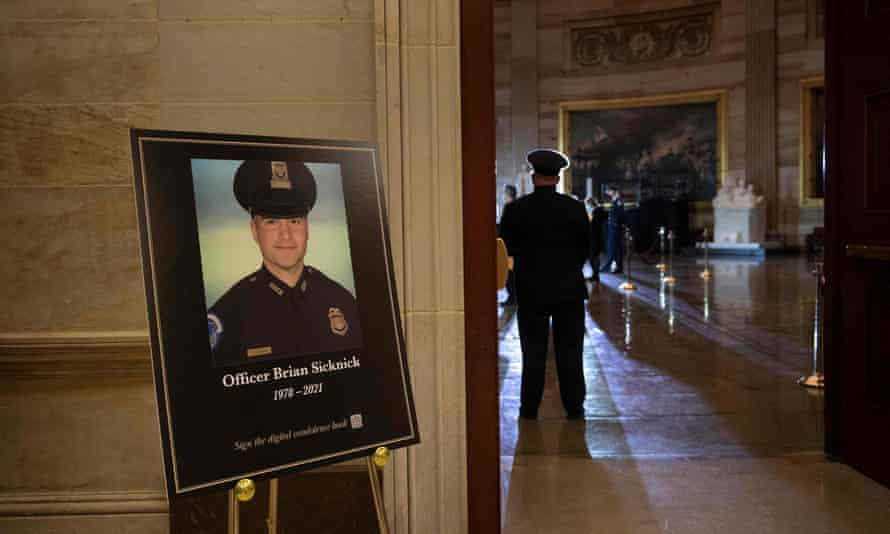 People wait for Brian Sicknick to lie in honor in the Rotunda of the US Capitol in February.