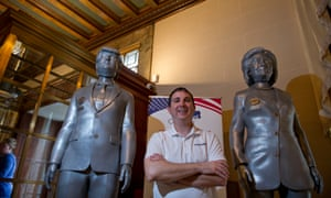 Youngstown votersYOUNGSTOWN, OH-October 27: Brett Conor, Chief Technical Officer at Freshmade 3D, with his presidential campaign bobbleheads at the Butler Museum in Youngstown, Ohio. (Jeff Swensen for The Guardian)
