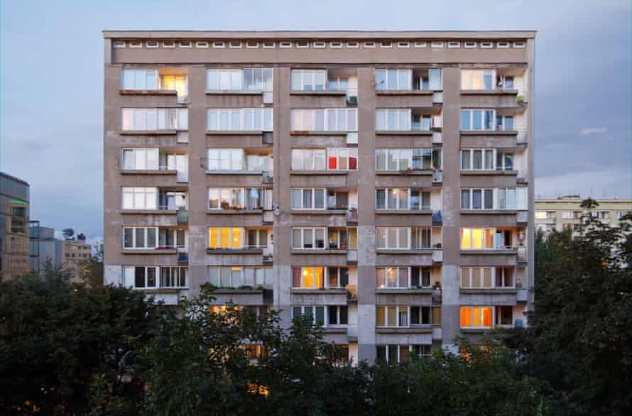 A Soviet-era prefabricated high-rise in the centre of Warsaw.