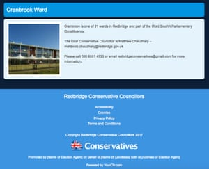 Screenshot of the Redbridge Conservatives website, with the wrong candidate name and a boilerplate imprint.