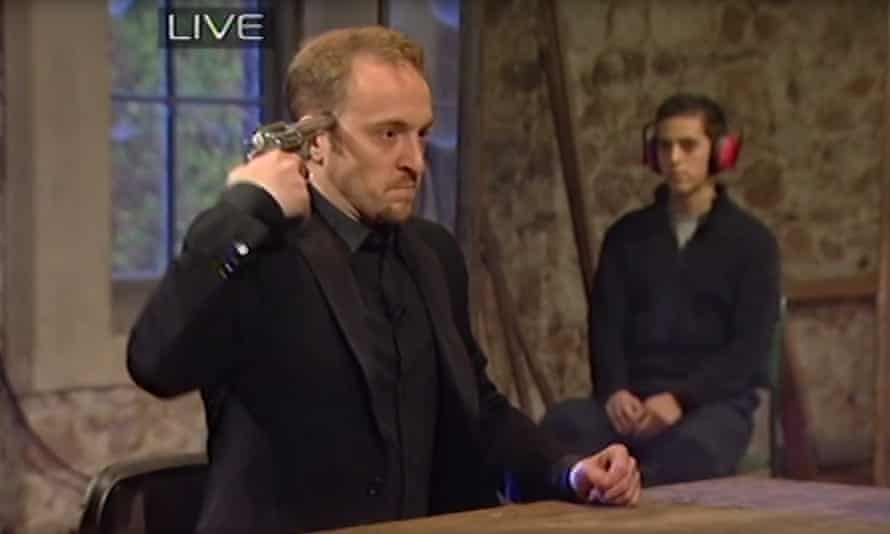 Pulling the trigger: Derren Brown's infamous Russian roulette stunt.