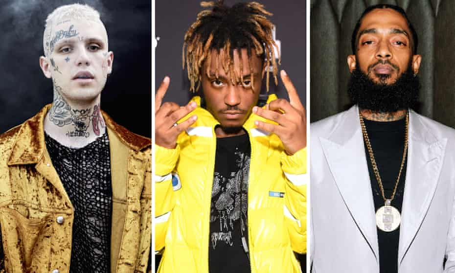 Lost voices … from left, Lil Peep, Juice WRLD and Nipsey Hussle.