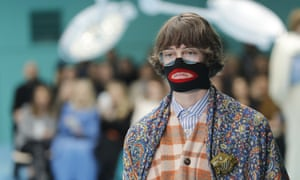 A model for Gucci's autumn/winter 2018-19 collection is seen at Milan fashion week.