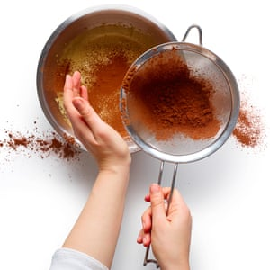 Sieve the cocoa, spices and salt into the mix