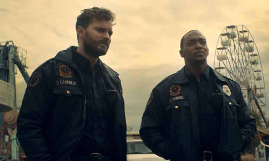 Silly … Jamie Dornan and Anthony Mackie in Synchronic