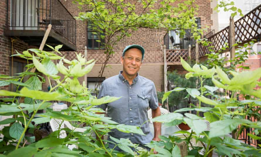 Paul Greenberg with raspberry canes (foreground) and Concord grapes (overhead), one of two varieties of vine in the garden.