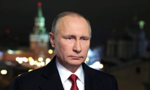 The Russian president makes his annual new year address to the nation from the Kremlin in Moscow last month.