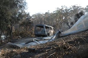 Some of the more than 70 houses and businesses destroyed by a bushfire in the coastal town of Tathra, New South Wales