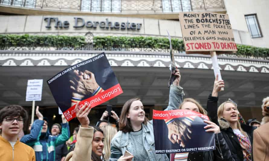Protesters outside the Dorchester hotel.