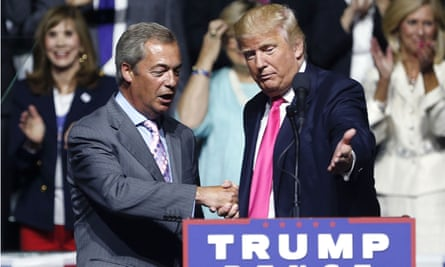 Donald Trump welcomes Nigel Farage at a campaign rally in Jackson, Mississippi