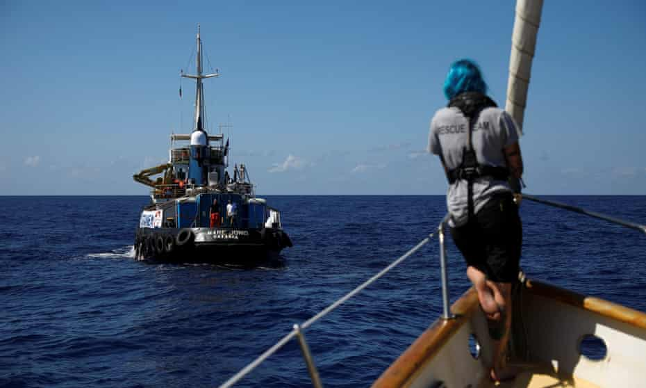 The Mare Jonio seen from onboard another rescue boat, Astral