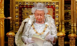 The Queen delivering her speech in the House of Lords