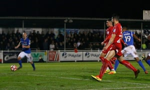 Eastleigh's Mikael Mandron puts his side ahead against Swindon