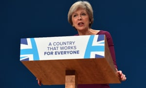 Conservative leader Theresa May addresses the party conference.