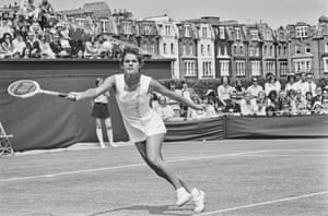 She went on to win 14 grand slam tournament titles: seven in singles, six in women's doubles and one in mixed doubles.Goolagong at the Queen's Club Championships in London in June 1973.