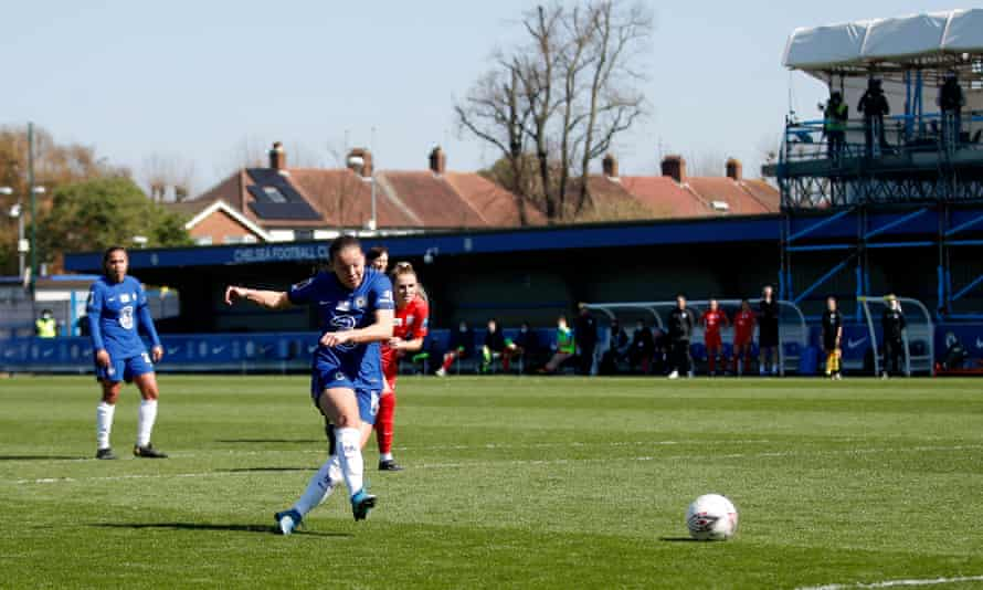 Fran Kirby scores for Chelsea in their 6-0 win over Birmingham.