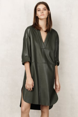 Olive leather dress, Autograph for M&S.