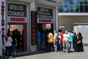 Queues outside a currency exchange office in Istanbul, Turkey, on 13 August 2018.