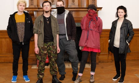 Members of the anarchist group at 102 Eaton Square, where they are squatting.